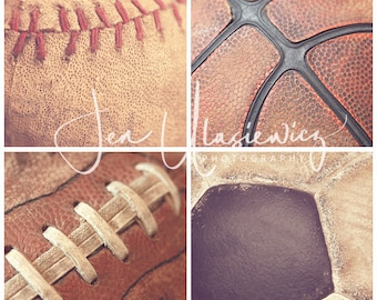 Set of 4 Vintage Sports 8x8 Fine Art Photography Prints, man cave, boys room, nursery, macro, still life