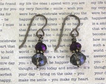 Crystal Earrings, Dangle Earrings, Stacked Earring, Lightweight Earrings, Brass Earrings, Purple Bronze Earrings, Elegant Jewelry, Gift Idea