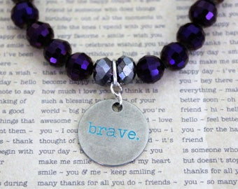 Brave Stretch Bracelet, Stretchy Bracelet, Stackable Bracelets, Layering Bracelets, Beaded Bracelets, Stretch Beaded Bracelet with Charm
