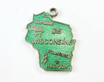 Charm - Sterling Silver - Wisconsin State Charm - Enameled Geography Jewelry - Green Enamel Charm - Signed Stamped F Sterling