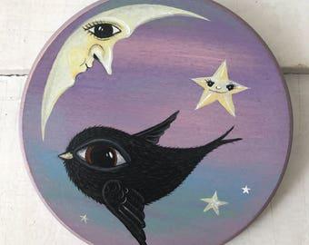 moon, flying bird and stars