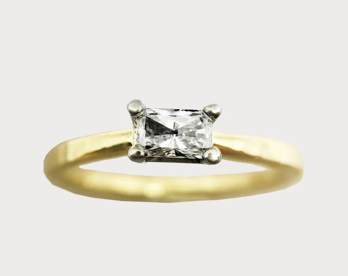 Forever Yours_ 14K Yellow Gold Radiant Diamond Engagement Ring