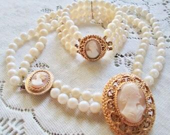 Vintage Florenza Carved Cameo Brooch, Necklace & Bracelet Set Hand Craved Signed