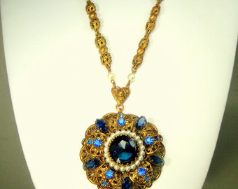 Blue Glass Medallion, Gold Filigree Pendant and Fancy Chain, 2 Tone Blue Rhinestones Too, 30s -60s Recycled Ecochic, OOAK