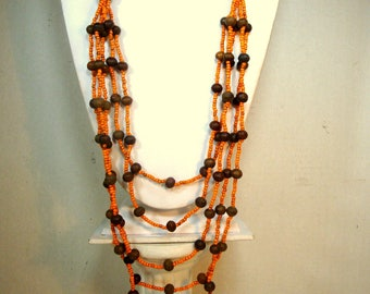 LONG Tribal Orange Glass and Brown Wood Bead Necklace, Multistrands, Lightweight  Boho Beads, 1990s