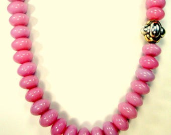 Chunky PINK Glass Bead Necklace, w Silver Bead Focal and Silver T Bar Catch