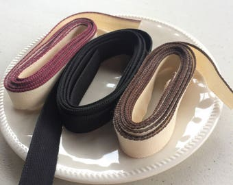 Bookbinding - Headband material; Dark Brown, Solid Black, Burgundy