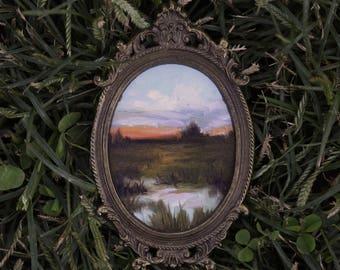 At Sunset - Original Landscape Oil Painting on Paper in Antique Frame