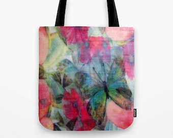 Floral Butterfly Burst Tote Bag / Encaustic Art on Tote / Book Tote Bag / Market Tote Bag / Available in 3 Sizes / Made to Order