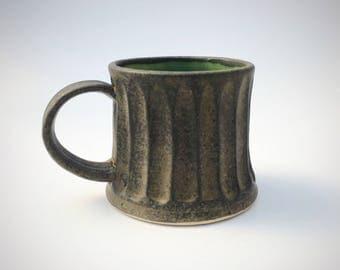 Handmade pottery stoneware mug 12 ounce in charcoal and aqua