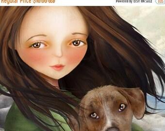 50% Off SALE Keli and Olive 5x7 Small Giclee Premium Fine Art Print by Artist Jessica Grundy