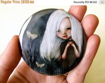 """50% Off SALE Pocket Mirror """"Pelottava"""" 2 1/4"""" Round Compact Mirror  - Little Vampire Girl in Graveyard"""