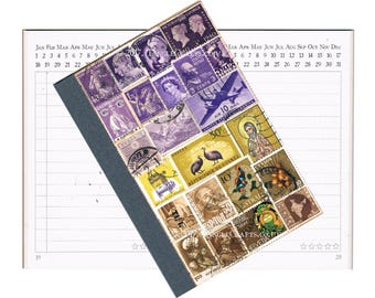 Purple Brown A6 Pocket Planner Diary - Mail Art Collage Cover