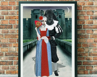 Beauty And Beast Art Print - Fairytale Print - Fairytale Art - Forbidden Love Art - A3 Art Print