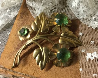 Very Large Green Faceted Glass Gold Tone Flower Brooch Pin Unsigned 1930's 1940's Metal Stamping Large Cut Green Stones Three Leaves