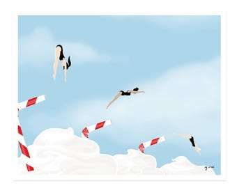 Milkshake Diver Trio - 8x10 art print