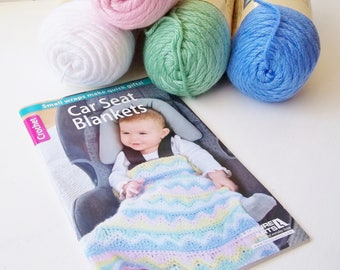 Car Seat Blanket Pattern Book and  100% Acrylic Yarn 4 Skeins Caron Simply Soft Yarn, White, Soft Pink, Baby Blue and Sage, Crochet Project