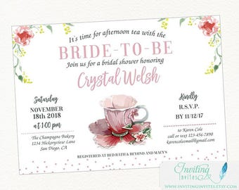 Tea Party Bridal Shower Invitation | Bridal Shower Tea Invitation | Baby Shower Tea | Bridal Shower Tea Party | Shabby Chic Invitation
