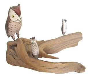 Vintage Owl Family Wood Carving Sculpture Figurine Hand Carved Folk Art on Driftwood Mother Babies