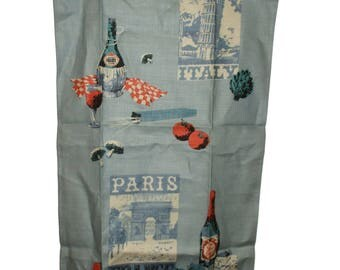 Vintage Tea Towel Paris France George Wright Linen Dish Cloth Leaning Tower of Pisa Italy