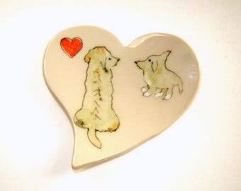 Painted Dog Plate - Trinket Dish - Two Dogs - Tea Bag Holder - Spoon Rest - Gift for Dog Lover - Family Pets - Ready to Ship
