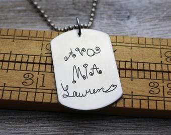Custom Handwriting Dog Tag Necklace with your loved one's actual handwriting, Pewter, Men's