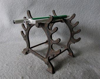 Antique Edwardian Cast Iron Desk Top Pen or Pencil Holder, Display Stand