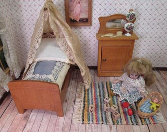 """Antique German Dollhouse Furniture - Half Tester Bed with Bedding and Mirrored Cupboard - Small 1"""" or 3/4"""" Scale"""