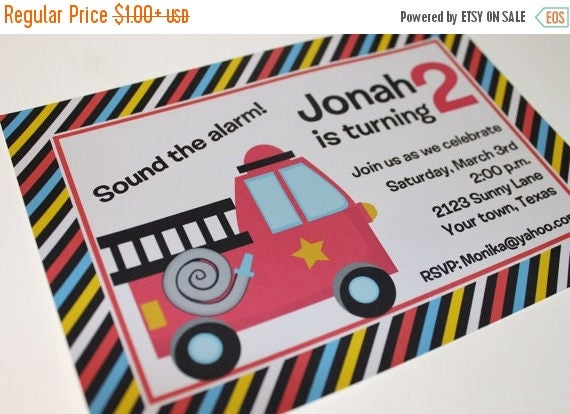 SALE Fire Truck Birthday Party Invitations