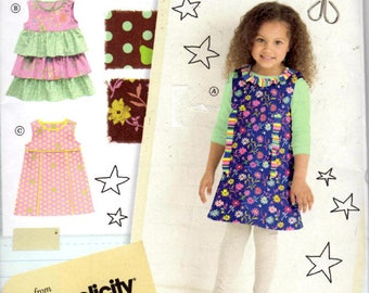 Sewing Pattern - Simplicity 2063 - Girls Dresses Jumpers - Little Lisette Sew Your Style - Sizes 3-8