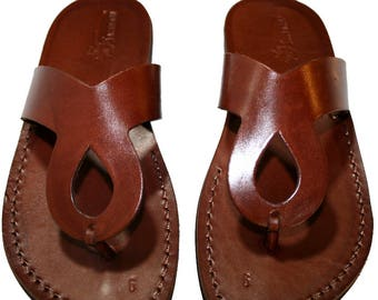 CLEARANCE SALE - Brown Cross Leather Sandals for Men & Women - EURO # 41 - Handmade Unisex Sandals, Genuine Leather Sandals, Sale