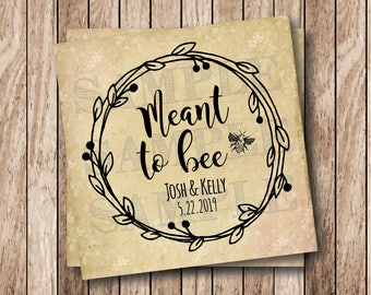 Personalized Printable Meant To Bee Tags, Wedding Bee Tags, Printable Bee Tags, Bumble Bee Wedding Tags