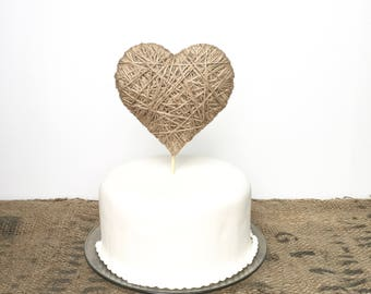 Medium Heart Cake Topper - choose from two sizes - jute twine or ivory cotton - wedding, birthday, anniversary, baby shower, bridal shower
