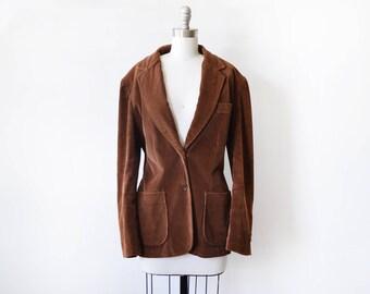 brown corduroy blazer, vintage 70s blazer, boho 1970s blazer, large women's blazer