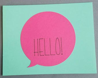 Hello Greeting Card Turquoise & Pink