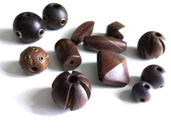 Wood Beads various size and shapes 14-37mm - Set of 12 Exotic wooden beads