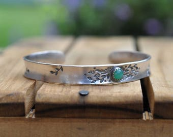Sterling Silver Chrysophase Cuff, Metalwork Bangle, Oxidised Bracelet, Hand Stamped Anti Clastic Cuff, MADE TO ORDER