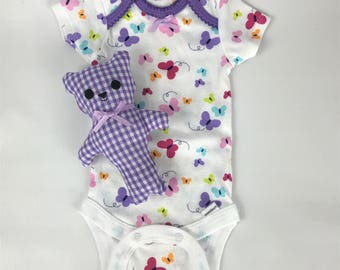 Teddy Bear, Stuffed Bear, purple gingham bear, Only 1 Left, baby onesie, 0-3 month, baby bear, baby toy, crib toy, baby shower gift set