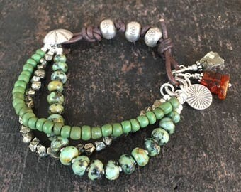 RESERVED Rustic Boho Leather Bracelet, Triple Strand Bracelet, Green Bracelet, Primitive Bracelet, African Turquoise Bracelet