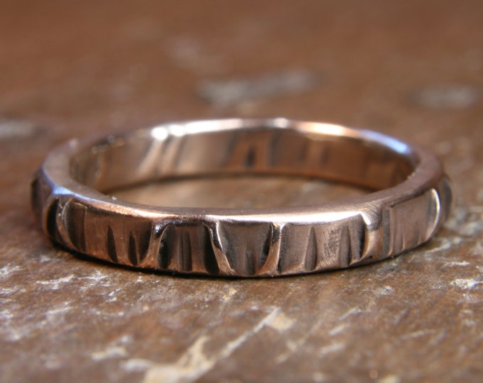 Eco Gothic 2.5mm wide wedding ring. Hand made in the UK