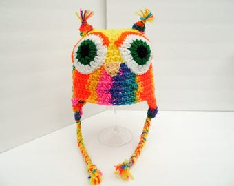 Summer CLEARANCE EVENT, Owl Hat, Little Hoot, Rainbow Youth Size