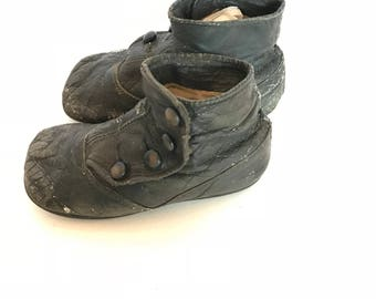 Black Leather Victorian Baby Boots