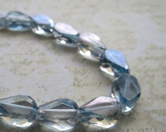 Clear pale blue faceted pressed Czech glass beads 13mm drop