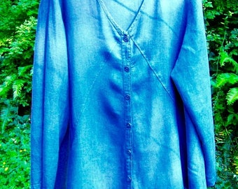 ON SALE vintage FLAX engelhart A-line tunic, Xl-Xxl, denim blue color, gently used, Flax brand linen women's top
