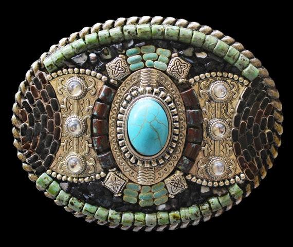 Unisex Southwestern Western Embellished Mosaic Belt Buckle with Turquoise Howlite, Rhinestone, and Hematite