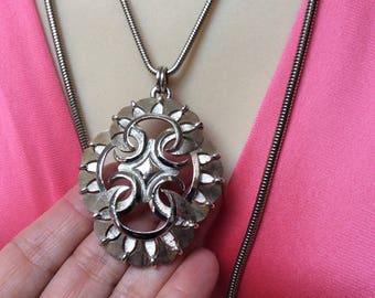 Vintage silvertone Trifari freeform large pendant, polished brushed openwork silvertone metal Trifari necklace pendant, snake chain choice