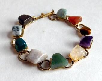 Vintage Polished Mineral Bracelet - Polished Multi-Colored Stones, Goldtone Metal - Amethyst, Jade, Tigers Eye, Quartz, Amazonite, Carnelian