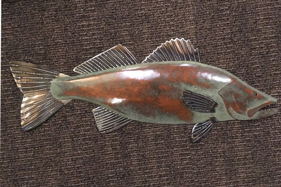 Walleye metal fish 26in Art wall sculpture Lake Cabin Cottage