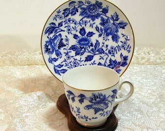 Wedgewood Blue Floral Teacup and Saucer
