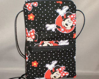Minnie Mouse - Smart Phone Purse - Passport Purse - Sling Bag - Hipster - Wallet on a String